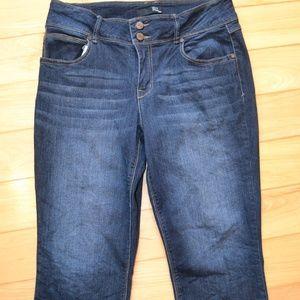 1822 denim Jeans 14 crop dark wash capri cropped